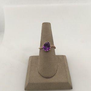 Jewelry - 14K Rose Gold Amethyst & Diamond Ring